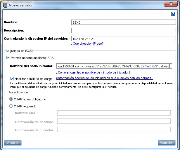 Instalación y configuración HP VSA. Nuevo servidor.