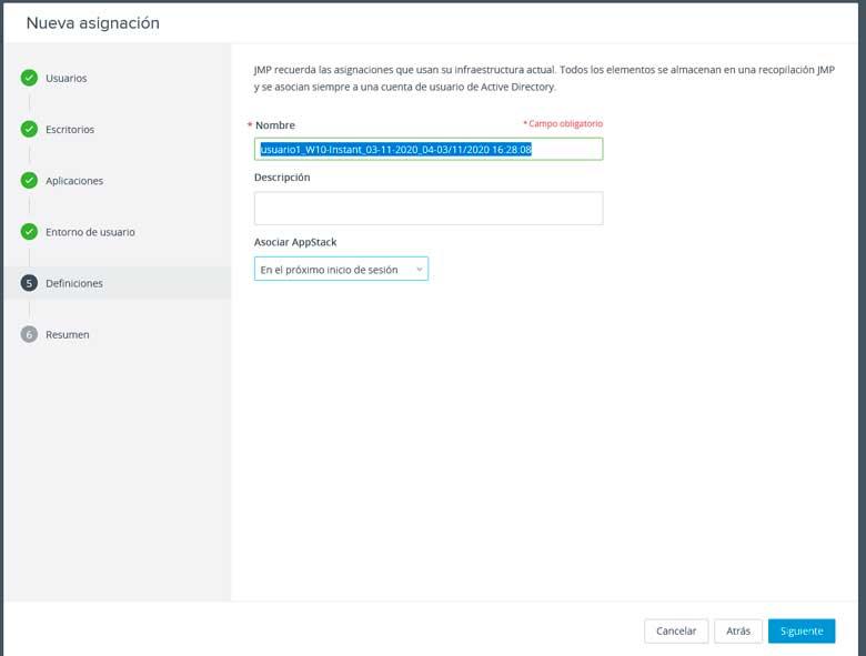 Uso de JMP. Asignación de usuarios. 7